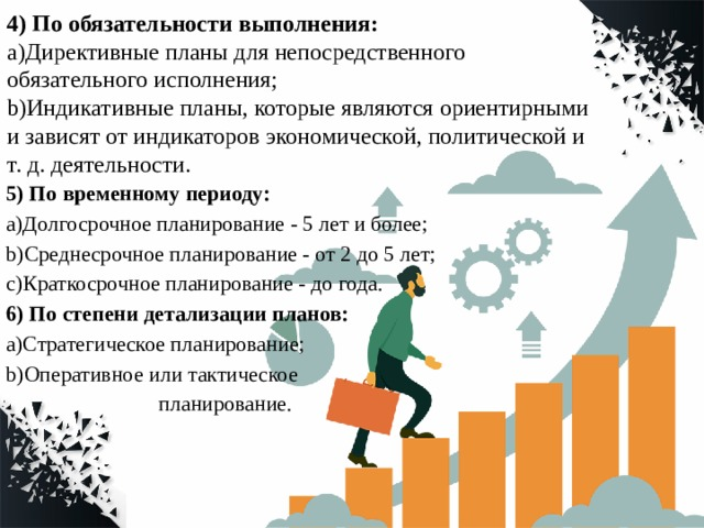 4) По обязательности выполнения: a)Директивные планы для непосредственного обязательного исполнения; b)Индикативные планы, которые являются ориентирными и зависят от индикаторов экономической, политической и т. д. деятельности. 5) По временному периоду: a)Долгосрочное планирование - 5 лет и более; b)Среднесрочное планирование - от 2 до 5 лет; c)Краткосрочное планирование - до года. 6) По степени детализации планов: a)Стратегическое планирование; b)Оперативное или тактическое  планирование.