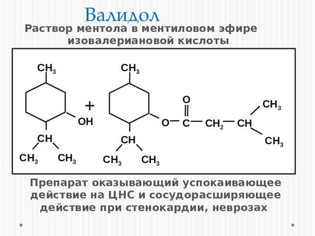 Валидол Раствор ментола в ментиловом эфире изовалериановой кислоты CH 3 CH 3 + O CH 3 ОH О CH 2 C CH CH CH CH 3 CH 3 CH 3 CH 3 CH 3 Препарат оказывающий успокаивающее действие на ЦНС и сосудорасширяющее действие при стенокардии, неврозах