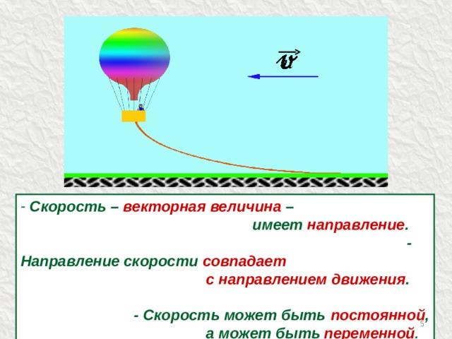 Скорость – векторная величина –