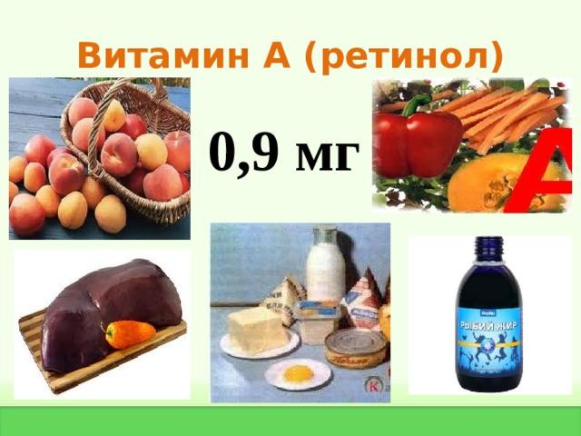 Витамин А ( ретинол) 0,9 мг