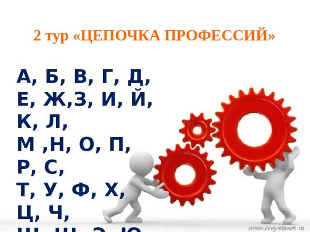 2 тур «ЦЕПОЧКА ПРОФЕССИЙ» А, Б, В, Г, Д, Е, Ж,З, И, Й, К, Л,  М ,Н, О, П, Р, С, Т, У, Ф, Х, Ц, Ч, Ш, Щ, Э, Ю, Я.