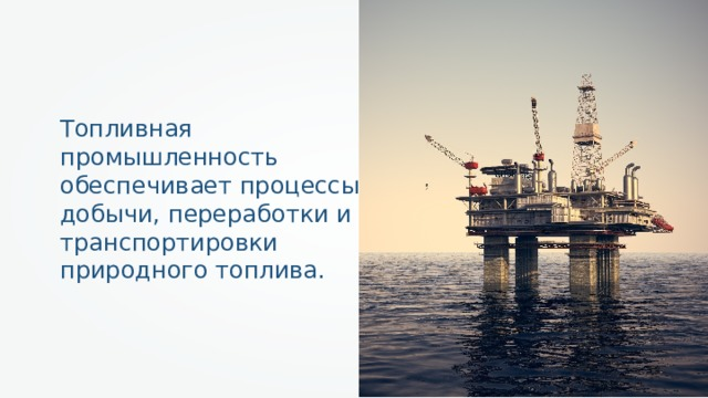 Топливная промышленность обеспечивает процессы добычи, переработки и транспортировки природного топлива.