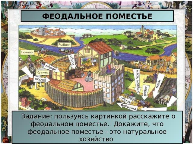 ФЕОДАЛЬНОЕ ПОМЕСТЬЕ Задание: пользуясь картинкой расскажите о феодальном поместье. Докажите, что феодальное поместье - это натуральное хозяйство