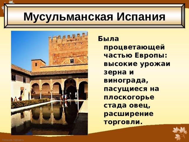Мусульманская Испания Была процветающей частью Европы: высокие урожаи зерна и винограда, пасущиеся на плоскогорье стада овец, расширение торговли.