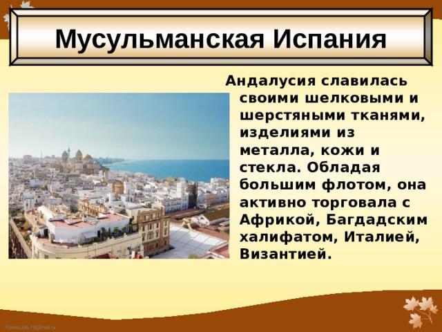 Мусульманская Испания Андалусия славилась своими шелковыми и шерстяными тканями, изделиями из металла, кожи и стекла. Обладая большим флотом, она активно торговала с Африкой, Багдадским халифатом, Италией, Византией.
