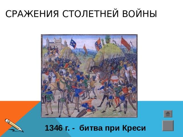 СРАЖЕНИЯ СТОЛЕТНЕЙ ВОЙНЫ 1346 г. - битва при Креси