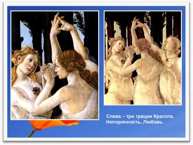Слева – три грации Красота, Непорочность, Любовь.