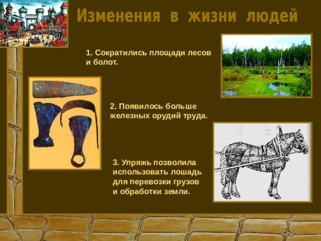 1. Сократились площади лесов и болот. 2. Появилось больше железных орудий труда. 3. Упряжь позволила использовать лошадь для перевозки грузов и обработки земли.