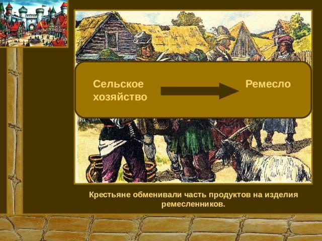 Сельское Ремесло  хозяйство Крестьяне обменивали часть продуктов на изделия ремесленников.