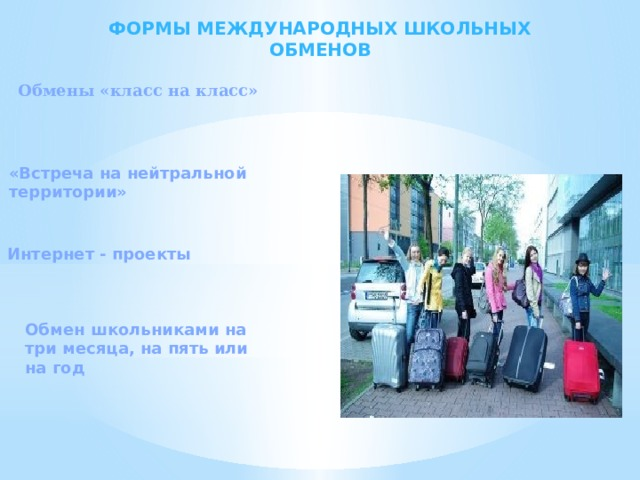 Формы международных школьных обменов Обмены «класс на класс» «Встреча на нейтральной территории» Интернет - проекты Обмен школьниками на три месяца, на пять или на год