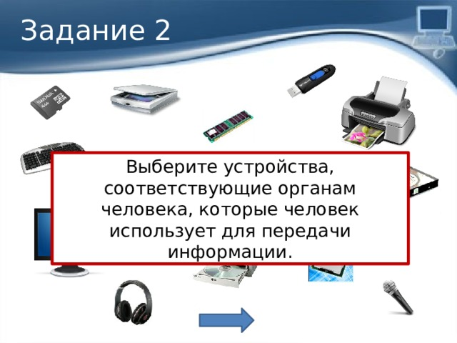 Задание 2 Выберите устройства, соответствующие органам человека, которые человек использует для передачи информации. Органы речи и опорно-двигательной системы