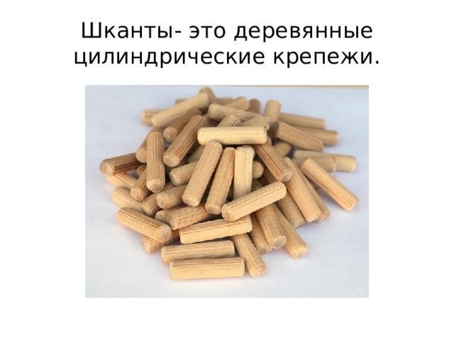 Шканты- это деревянные цилиндрические крепежи.