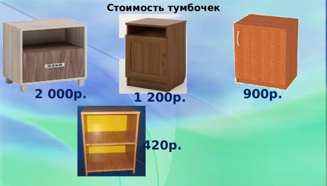 Стоимость тумбочек 900р. 2 000р. 1 200р. 420р.