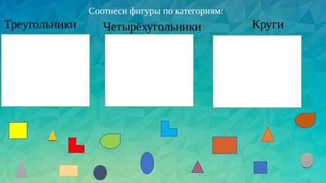 Соотнеси фигуры по категориям: Треугольники Круги  Четырёхугольники