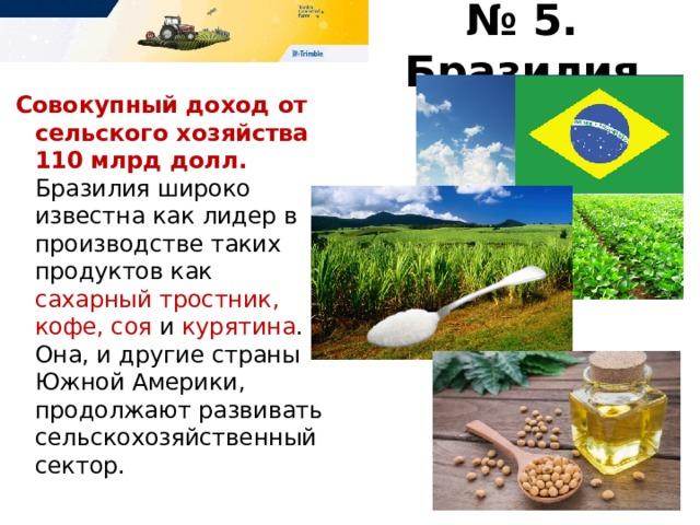 № 5. Бразилия Совокупный доход от сельского хозяйства 110 млрд долл.  Бразилия широко известна как лидер в производстве таких продуктов как сахарный тростник, кофе, соя и курятина . Она, и другие страны Южной Америки, продолжают развивать сельскохозяйственный сектор.