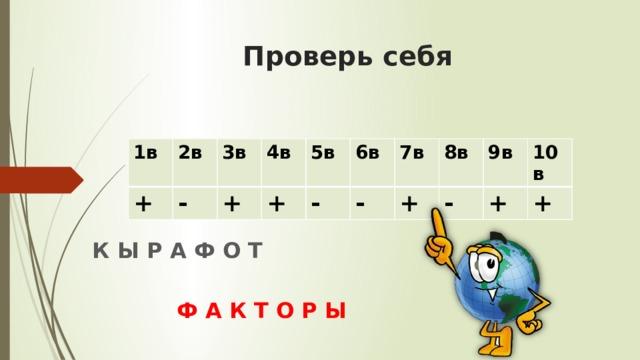 Проверь себя 1в + 2в - 3в 4в + + 5в 6в - - 7в 8в + - 9в 10в + + К Ы Р А Ф О Т Ф А К Т О Р Ы