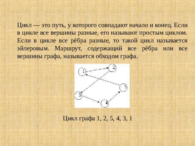 Цикл — это путь, у которого совпадают начало и конец. Если в цикле все вершины разные, его называют простым циклом. Если в цикле все рёбра разные, то такой цикл называется эйлеровым. Маршрут, содержащий все рёбра или все вершины графа, называется обходом графа. Цикл графа 1, 2, 5, 4, 3, 1