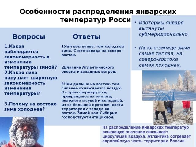Особенности распределения январских температур России
