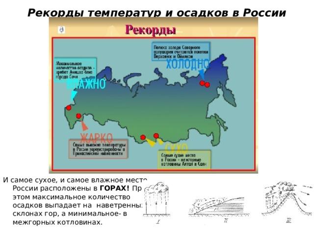 Рекорды температур и осадков в России И самое сухое, и самое влажное место. России расположены в ГОРАХ! При этом максимальное количество осадков выпадает на наветренных склонах гор, а минимальное- в межгорных котловинах.
