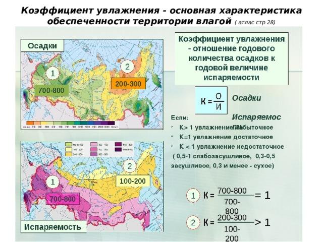 Коэффициент увлажнения - основная характеристика обеспеченности территории влагой ( атлас стр 28)