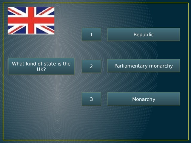 1 Republic What kind of state is the UK? Parliamentary monarchy 2 3 Monarchy
