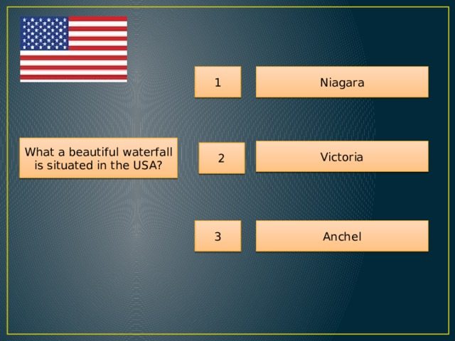 1 Niagara What a beautiful waterfall is situated in the USA? Victoria 2 3 Anchel