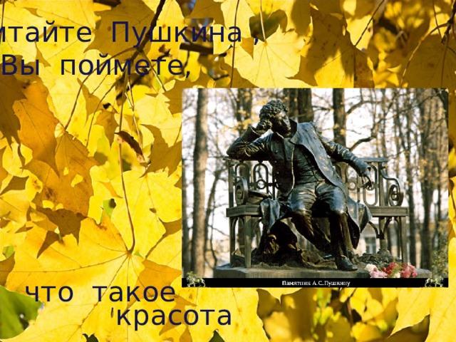 Читайте Пушкина , И Вы поймете, что такое   красота