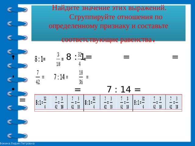 Найдите значение этих выражений.  Сгруппируйте отношения по определенному признаку и составьте соответствующие равенства .  8 : 1= = =  = 7 : 14 = =   8 : 1 =  =  =