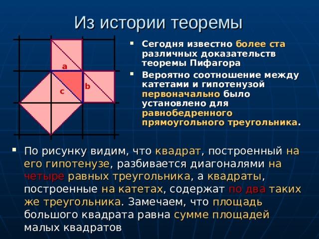 Из истории теоремы Сегодня известно более ста различных доказательств теоремы Пифагора Вероятно соотношение между катетами и гипотенузой первоначально было установлено для равнобедренного  прямоугольного треугольника . а b c