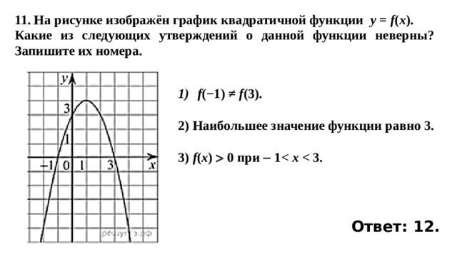 11. На рисунке изображён график квадратичной функции y = f ( x ). Какие из следующих утверждений о данной функции неверны? Запишите их номера. f (−1)≠ f (3).  2) Наибольшее значение функции равно 3.  3) f ( x )  0 при  1 x   Ответ: 12.
