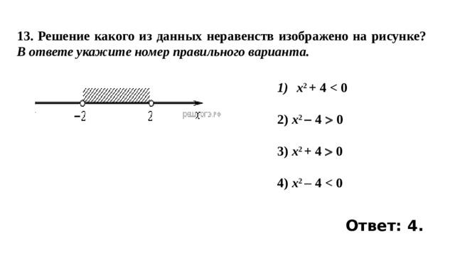 13. Решение какого из данных неравенств изображено на рисунке? В ответе укажите номер правильного варианта. x 2 + 4   2) x 2  4  0  3) x 2 + 4  0  4) x 2  4   Ответ: 4.