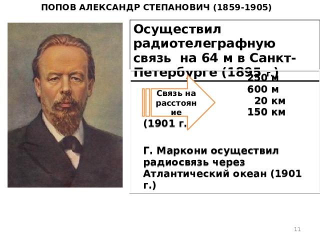 Попов Александр Степанович (1859-1905) Осуществил радиотелеграфную связь на 64 м в Санкт-Петербурге (1895 г. )   250 м  600 м  20 км  150 км (1901 г.)  Г. Маркони осуществил радиосвязь через Атлантический океан (1901 г.)  Связь на расстояние