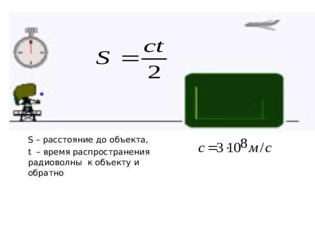 S – расстояние до объекта, t – время распространения радиоволны к объекту и обратно
