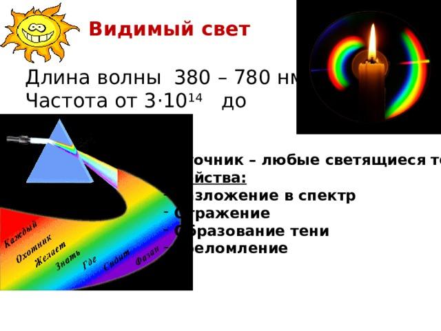 Видимый свет Длина волны 380 – 780 нм Частота от 3 · 10 14 до 3 · 10 15 Гц Источник – любые светящиеся тела. Свойства: