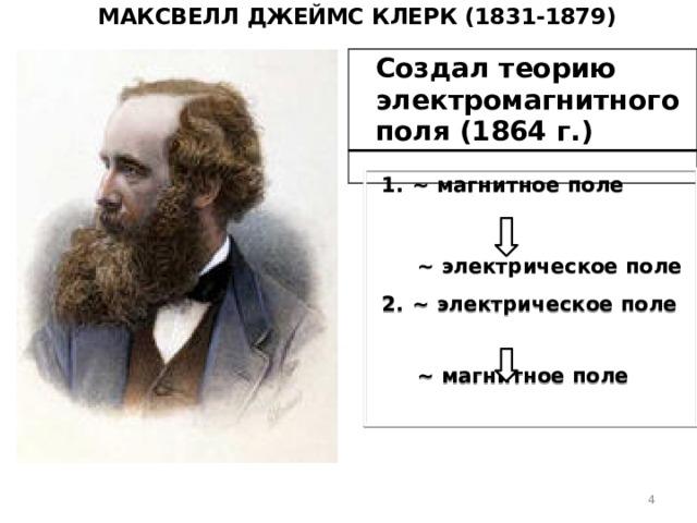 Максвелл Джеймс Клерк (1831-1879) Создал теорию электромагнитного поля (1864 г.)  ~ магнитное поле     ~ электрическое поле   ~ электрическое поле    ~ магнитное поле