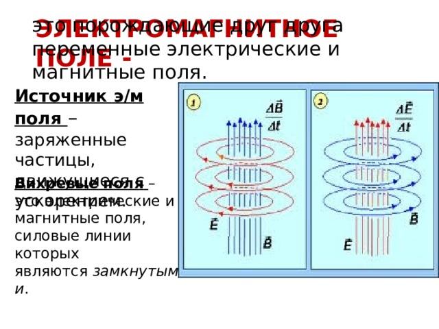 Электромагнитное поле - это порождающие друг друга переменные электрические и магнитные поля. Источник э/м поля – заряженные частицы, движущиеся с ускорением. Вихревые поля  – это электрические и магнитные поля, силовые линии которых являются замкнутыми .