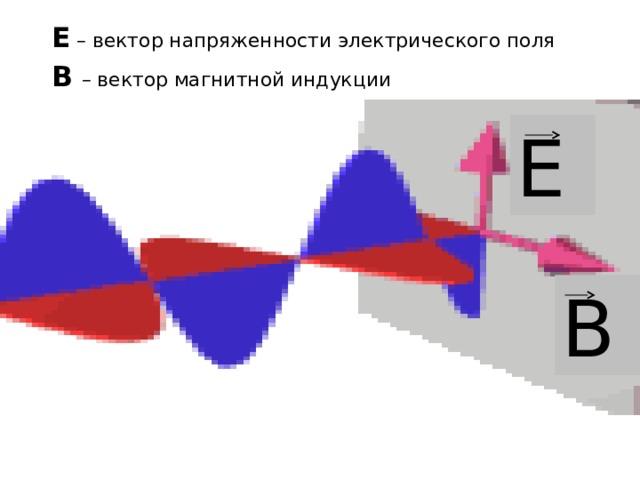 Е – вектор напряженности электрического поля В  – вектор магнитной индукции Е В