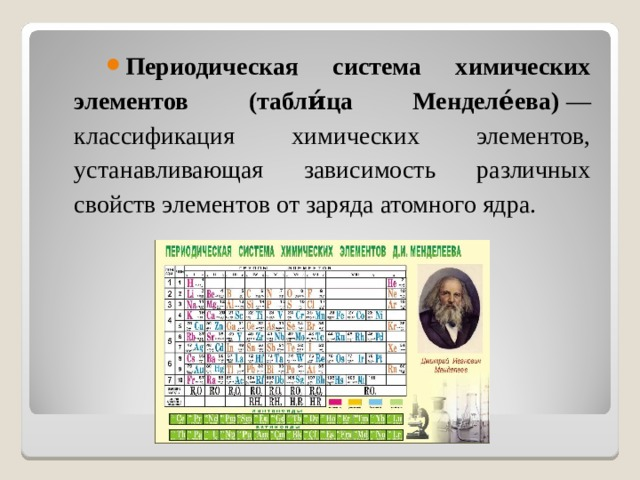 Периодическая система химических элементов (табли́ца Менделе́ева) — классификация химических элементов, устанавливающая зависимость различных свойств элементов от заряда атомного ядра.