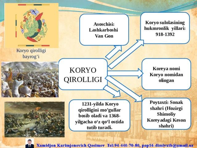 Koryo sulolasining hukmronlik yillari: 918-1392 Asoschisi: Lashkarboshi Van Gon Koryo qirolligi bayrog'i KORYO QIROLLIGI Koreya nomi Koryo nomidan olingan Poytaxti: Sonak shahri (Hozirgi Shimoliy Koreyadagi Keson shahri)  1231-yilda Koryo qirolligini mo'gullar bosib oladi va 1368-yilgacha o'z qo'l ostida tutib turadi.