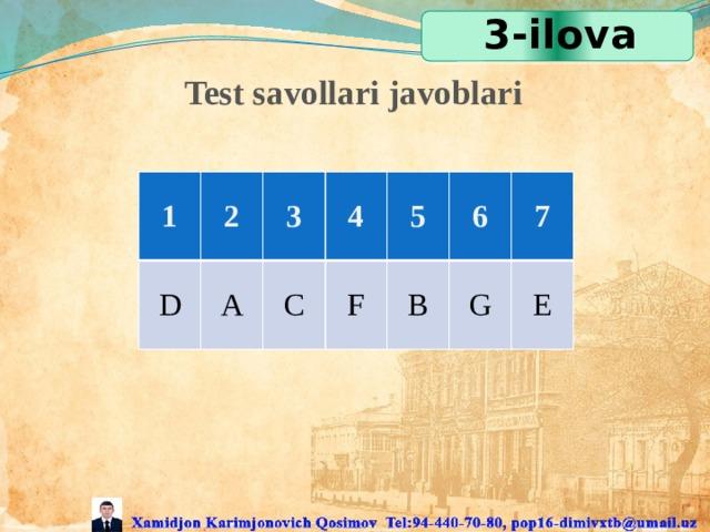 3-ilova Test savollari javoblari 1 2 D 3 A 4 C 5 F 6 B 7 G E