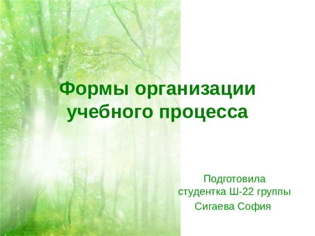 Формы организации учебного процесса Подготовила студентка Ш-22 группы Сигаева София