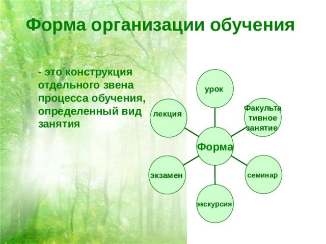 Форма организации обучения  - это конструкция отдельного звена процесса обучения, определенный вид занятия урок Факульта тивное занятие  лекция  Форма семинар экзамен  экскурсия