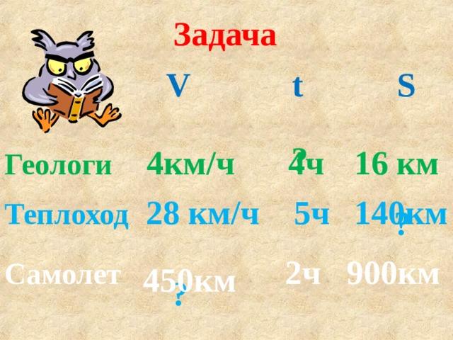 Задача  V t S ? 4ч Геологи 4км/ч 16 км Теплоход 28 км/ч 5ч 140км ? Самолет 2ч 900км 450км ?