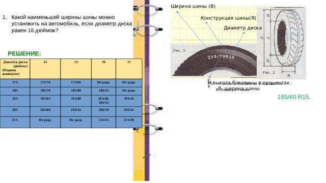 Ширина шины (В) Какой наименьшей ширины шины можно установить на автомобиль, если диаметр диска равен 16 дюймов? Конструкция шины(R) Диаметр диска РЕШЕНИЕ: Диаметр диска (дюймы) 14 175 185 Ширина 15 175/70 185/70 шины(мм) 16 195 175/65 17 Не разр. 185/60 195/65 205 205/60 185/55 Не разр. 215 195/60 Не разр. Не разр. 195/50, 205/55  205/50 195/55 Не разр. 195/45 205/45  215/45 215/40   Н-высота боковины в процентах.  В- ширина шины 185/60 R15 .