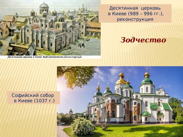 Десятинная церковь  в Киеве (989 – 996 гг.), реконструкция Зодчество Софийский собор  в Киеве (1037 г.)
