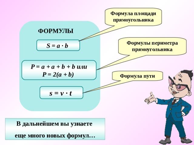 Формула площади прямоугольника ФОРМУЛЫ Формулы периметра прямоугольника S = a ∙ b  P = a + a + b + b или P = 2(a + b)  Формула пути s = v ∙ t  В дальнейшем вы узнаете еще много новых формул…