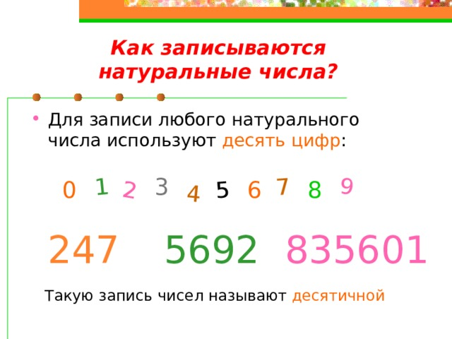 2 1 4 5 7 9 Как записываются натуральные числа? Для записи любого натурального числа используют десять цифр : 3 0 6 8 247 5692 835601 Такую запись чисел называют десятичной