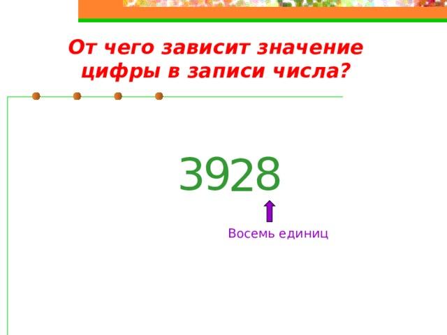 От чего зависит значение цифры в записи числа? 9 3 8 2 Восемь единиц