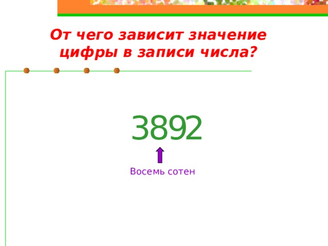 От чего зависит значение цифры в записи числа? 2 9 3 8 Восемь сотен