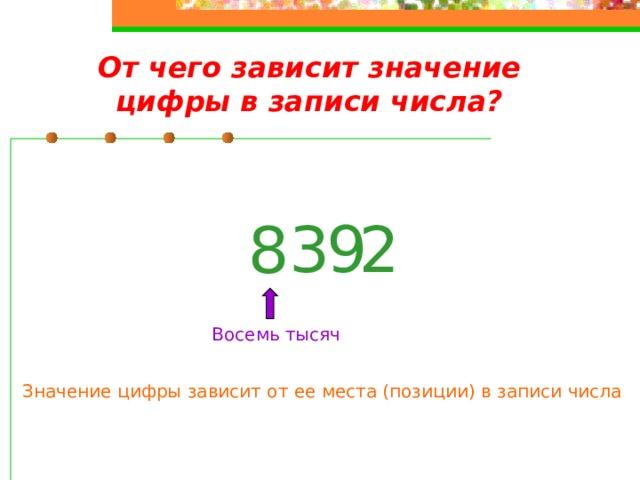 От чего зависит значение цифры в записи числа? 2 9 3 8 Восемь тысяч Значение цифры зависит от ее места (позиции) в записи числа